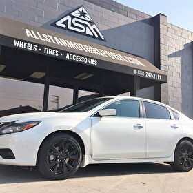 White Nissan Altima | Powdercoated Black Wheels