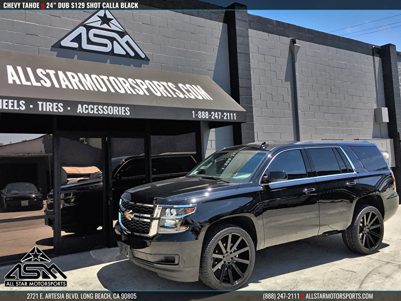 Black Chevrolet Tahoe | 24 Inch S129 Shot Calla Black Wheels