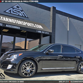 "Black Hyundai Equus 20"" Staggered CEC 882 Gunmetal Machined and Pirelli Tires"