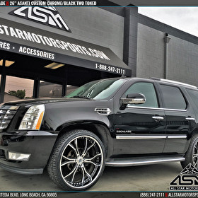 "Black Cadillac Escalade rolling 26"" Asanti Custom 3 Piece Wheels"