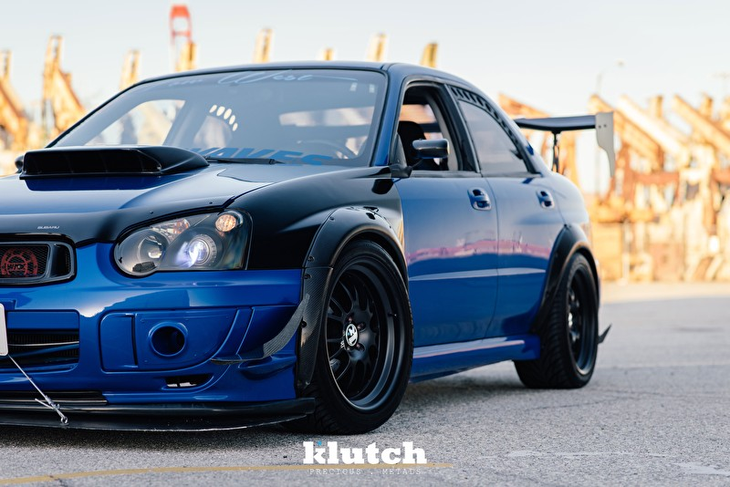 Blue Subaru WRX |Klutch Wheels SL14 Black Front