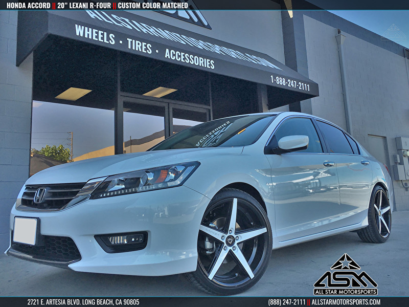 White Honda Accord on Custom Painted Lexani R-FOUR White and Black Finish
