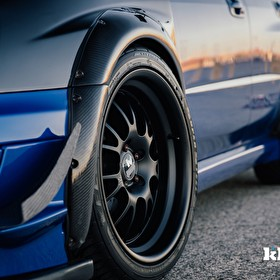 Blue Subaru WRX |Klutch Wheels SL14 Black Closeup