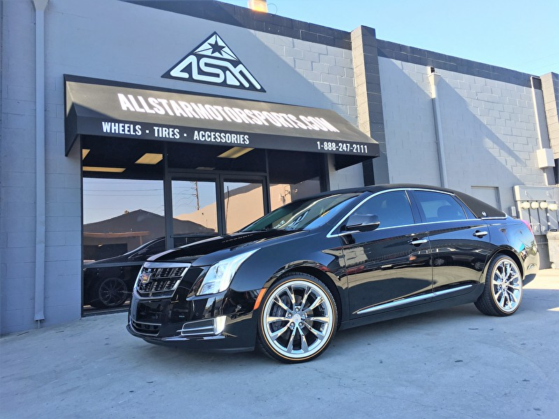 "Black Cadillac Sedan on Custom 20"" Vogue Tires with White Wall"