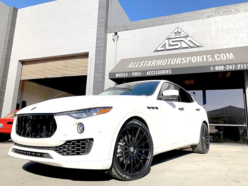 JSTAR Auto Maserati Levante | Blackout Package and 22 Inch Staggered Sporza Pentagon Black Wheels and Lexani Tires