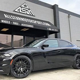 Gardena Nissan Black Dodge Charger | Custom AZAD AZ0006 22 Inch Gloss Black Wheels