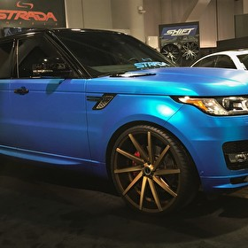 "Matte Blue Range Rover Sport Supercharged on 24"" Strada Bronze Wheels"