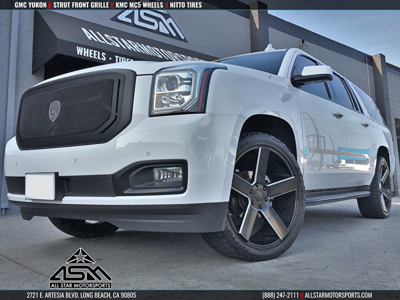 GMC Yukon | STRUT Grille and KMC KM690 MC5 Black and Milled Wheels
