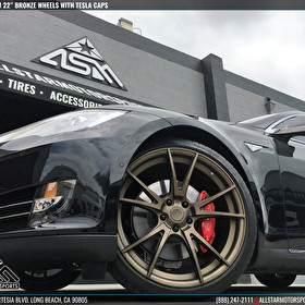 Black Tesla Model S | Custom 22 Inch Bronze Wheels | Custom Tesla Caps