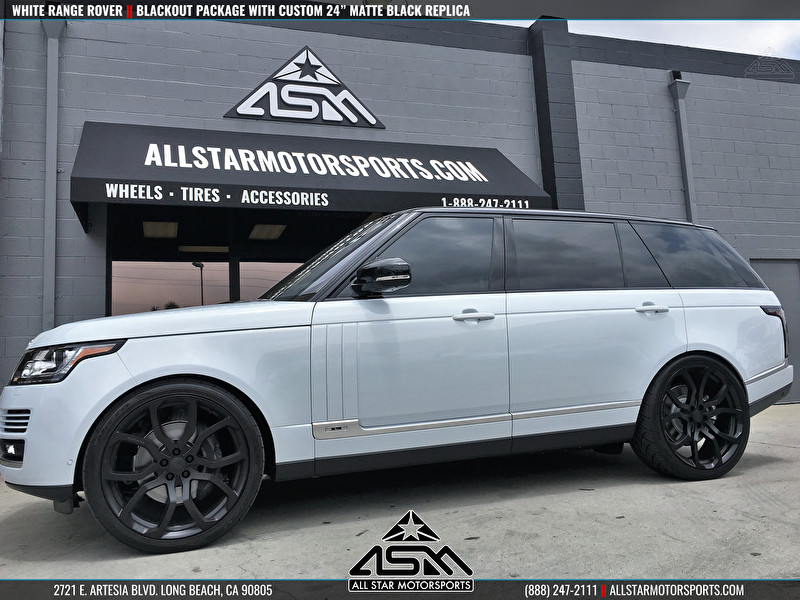 White Land Rover Range Rover | Blackout Package | Powdercoated 24 Inch Replica Wheels
