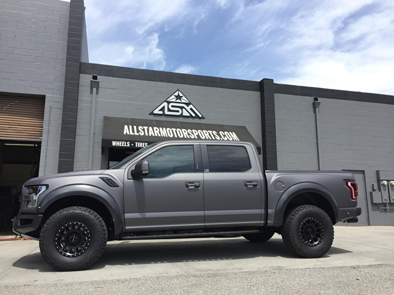 2017 Ford Raptor Custom Wrap and 17x8.5 Inch Method NV 305 Matte Black Wheels
