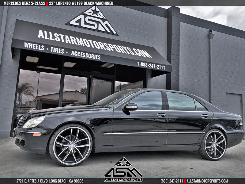 Black Mercedes Benz S-Class | 22 Inch Lorenzo WL199 Black/Machined Wheels