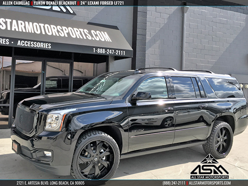 Black Yukon Denali XL | Blackout Package | 24 Inch Custom Lexani Forged LF721