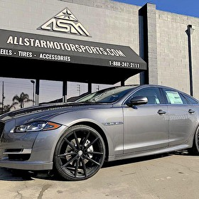 Charcoal Gray Jaguar XJ | Staggered 22 Inch Sporza V5 Wheels Black on Pirelli 245/30R22 Front and 295/25R22 Rear Tires