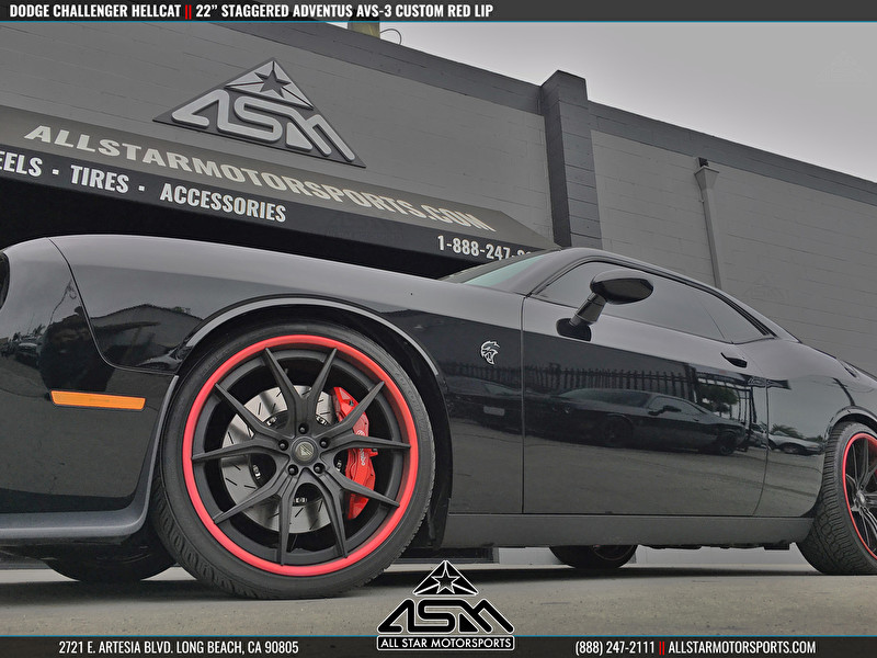 """Dodge Challenger Hellcat on 22"""" Staggered Adventus AVS-3 Custom Painted Red Lip - Low Angle"""