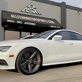 White Audi A7 | 21 Inch Staggered NIche 3 Piece Revel Wheels