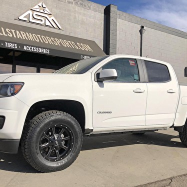 White Chevy Colorado With Ready Lift Level Kit 17 Inch