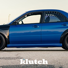 Blue Subaru WRX |Klutch Wheels SL14 Black Side Profile