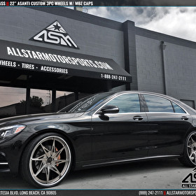Black Mercedes S Class on 24 Inch Custom Painted Asanti 3 Piece Wheels Bronze