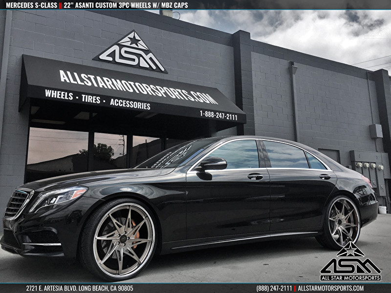 Black mercedes s class on 24 inch custom painted asanti 3 for 24 inch mercedes benz rims