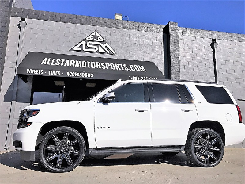 White Chevy Tahoe | 24x9.5 Dub S227 Stacks Gloss Black Milled Full Side Angle