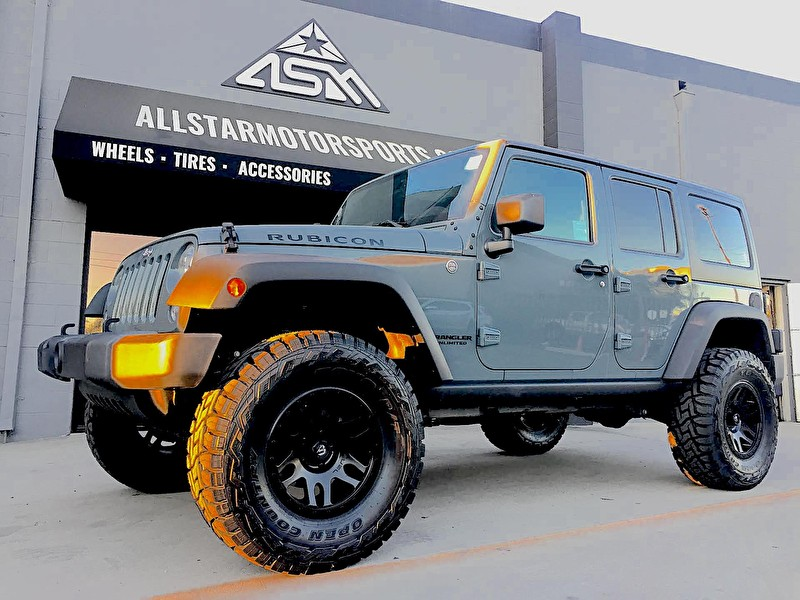 "4 Door Jeep Wrangler JK Rubicon 4"" Lift with Fuel Recoil Satin Black and Toyo M/T 35x12.50R17"