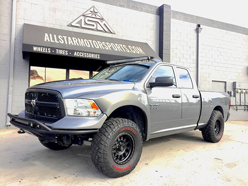 Gray Ram 1500 Lifted with ADD Front Bumper | Rigid Industries Lightbars | CST Suspension Lift | Method Double Standard 17x8.5 Wheels on General Tires Grabber 35x12.50R17