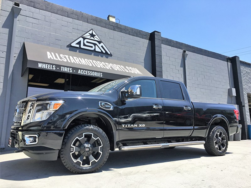 Brand New Black Nissan Titan XD | XD803 Thump Black Machined 20x9 on Fuel Gripper A/T Tires