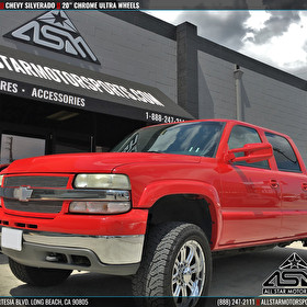 "Red Chevrolet Silverado on 20"" Chrome Ultra Wheels"