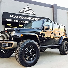 Black Jeep Wrangler Unlimited | 18x9 Vision 420 Locker Gloss Black Milled | Nitto Exo Grappler 35x12.50R18