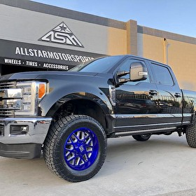 2017 Ford Superduty F250 Lariat Readlift Leveled | XD820 Grenade 20x10 Custom Painted Candy Blue / Brushed Windows | Nitto Terra Grappler G2 35x12.50R20 Tires