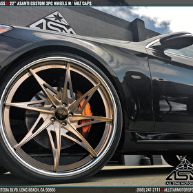 Black Mercedes S Class on 24 Inch Custom Painted Asanti 3 Piece Wheels