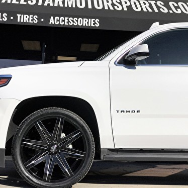 White Chevy Tahoe 24x9 5 Dub S227 Stacks Gloss Black