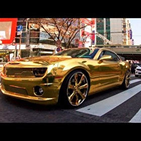 The Gold Standard: 24k Gold Chevrolet Camaro on Lexani Wheels