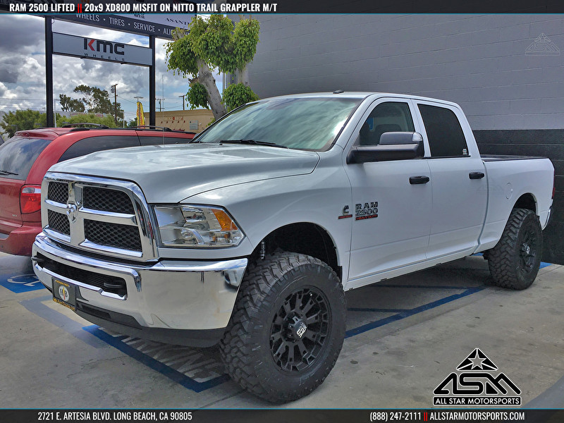 white dodge ram 2500 lifted 20x9 xd series xd800 misfit black nitto trail grappler - White Dodge Ram 2500 Lifted
