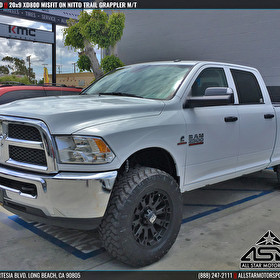 White Dodge Ram 2500 Lifted | 20x9 XD Series XD800 Misfit Black | Nitto Trail Grappler M/T
