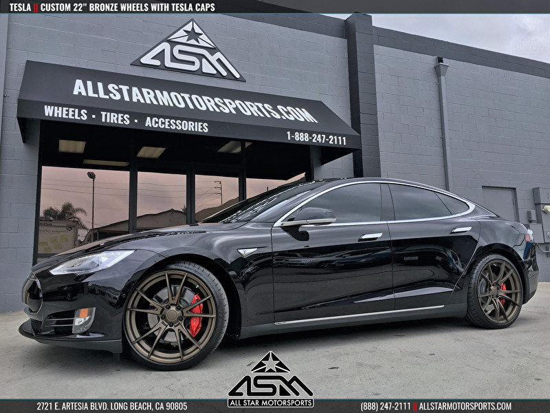 "Tesla | Custom 22"" Bronze Wheels with Tesla Cap"