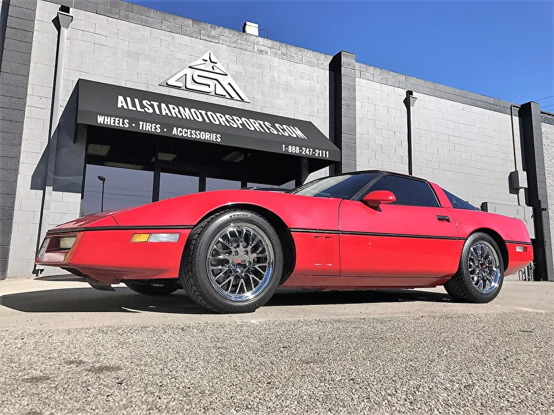 Red Chevy Corvette | 17 Inch Cray Wheels Manta Chrome | BF Goodrich Tires