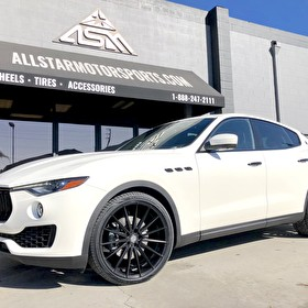JSTAR Maserati Levante | Blackout Package Trim | 22x9 and 22x10.5 Staggered Sporza Pentagon Satin Black on Lionhart Tires