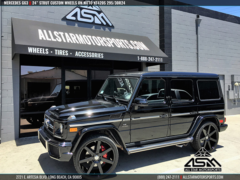 Black Mercedes G63 AMG | 24 Inch STRUT Wheels and Nitto NT420S Tires