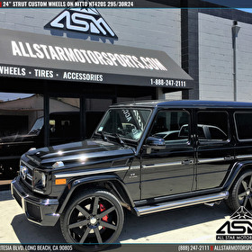 Black Mercedes G63 AMG   24 Inch STRUT Wheels and Nitto NT420S Tires