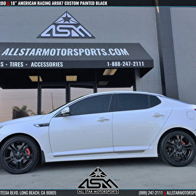 White Kia Optima | 18x7.5 American Racing AR887 | Custom Painted Black