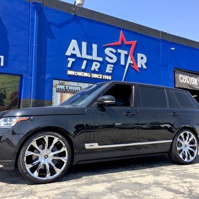 Black Land Rover Range Rover on 24 Inch Chrome Lexani Lust Wrapped in Pirelli Scorpion 285/30R24 Tires