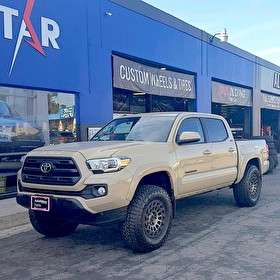 2017 Toyota Tacoma | 17x9 Black Rhino Madness Black Wheels Mounted on Falken Tires Wildpeak AT3 285/70R17