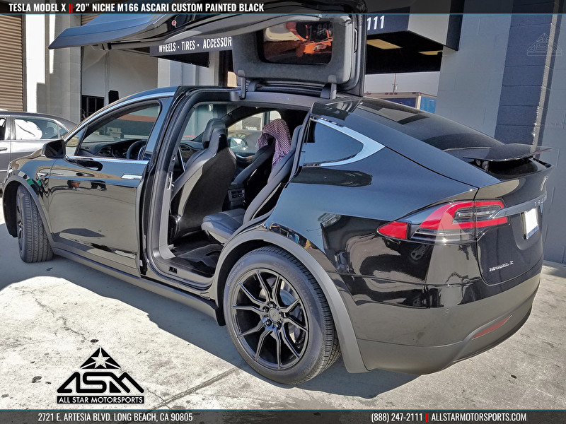 "Black Tesla Model X Falcon Wing Doors | 20"" Niche Wheels M166 Ascari Custom Painted Black"
