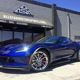 Blue Chevrolet Corvette Grand Sport - Custom Chromed Wheels