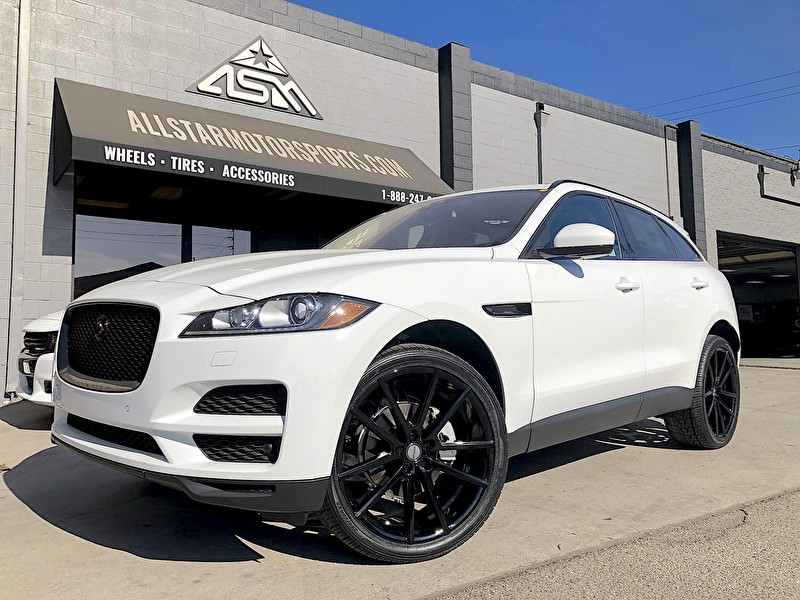 White 2017 Jaguar F-PACE | Blackout Package | 22 Inch Sporza V5 Wheels Custom Powder Coated on Nexen 285/35R22 Tires