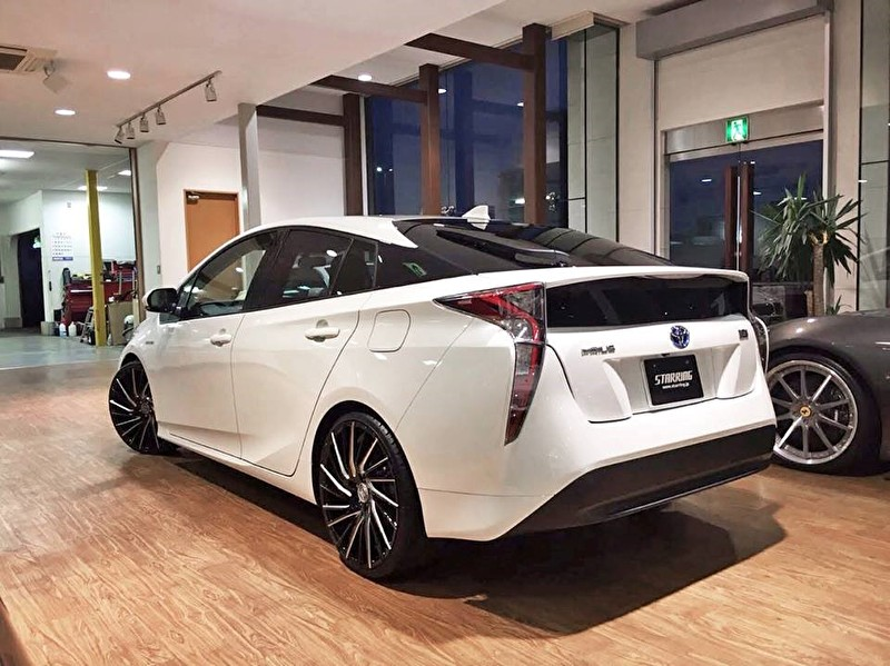 White 2016 Toyota Prius | 20 Inch Lexani Wheels Wraith Black Milled Finish Rear Angle