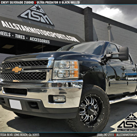 "Black Chevy Silverado 2500HD | 20"" Ultra Predator II Black/Milled"