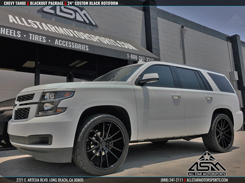 White Chevrolet Tahoe Blackout with Custom 24 Inch Rotiform Wheels